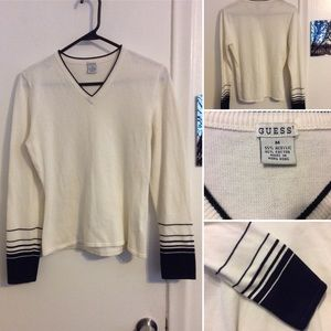 Guess Striped Sleeved V Neck Sweater